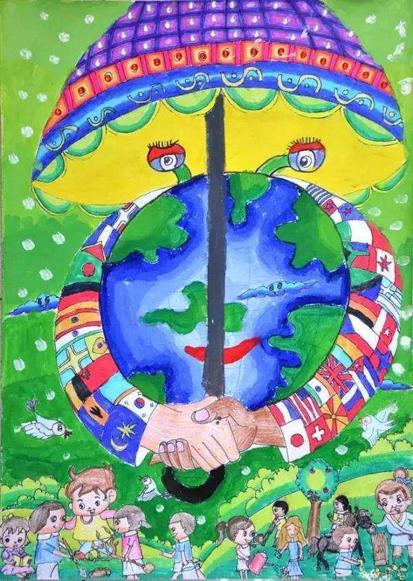 未来地球儿童画画图片