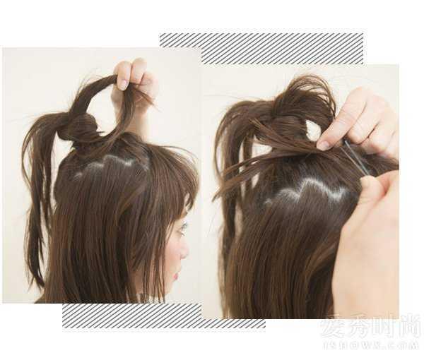 有刘海的半丸子头短发 短发齐刘海的半丸子头