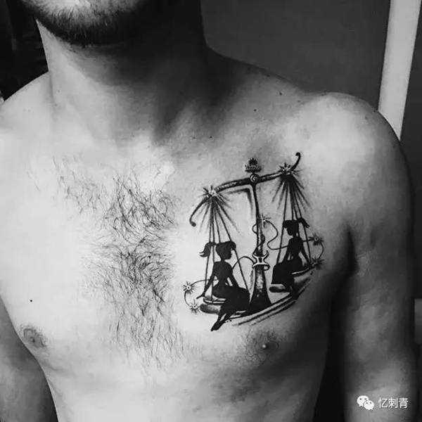 天平座纹身图案女 天秤座图案