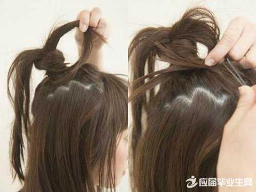 中短发扎半丸子头步骤 短发半丸子头的扎法图解