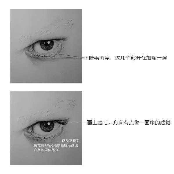 素描眼睛的画法步骤图 超写实人物眼睛素描画法步骤