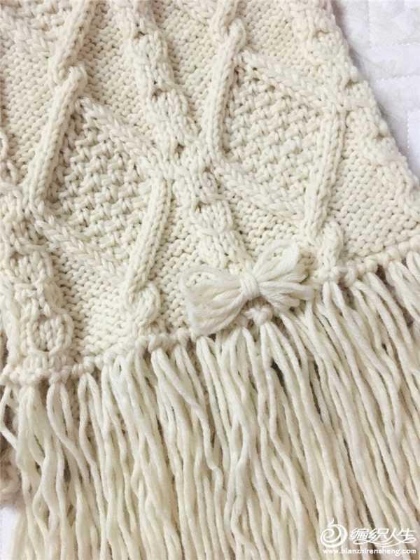 粗棒针围巾编织花样 粗针织棒针经典菱形花样流苏围巾