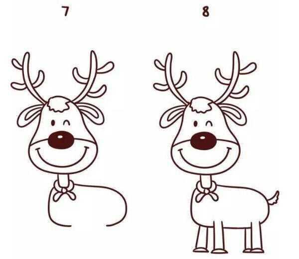 麋鹿圖片手繪簡筆畫 教你如何畫麋鹿簡筆畫圖解教程