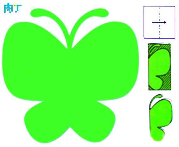 蝴蝶剪纸半边图 简单的剪纸艺术图样