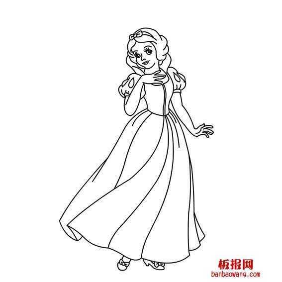儿童公主画画简单漂亮 画出漂亮的白雪公主简笔画