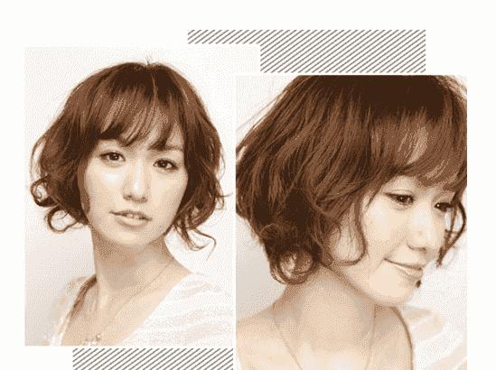 大脸 发型类型:空气刘海短卷发  作为大脸的mm们是不适合选空气刘海的