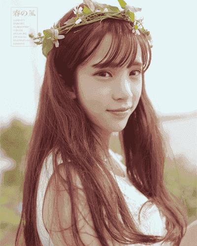 清新与淑女气质这款韩式中长发发型,只是简单配上一款韩范的空气刘海图片