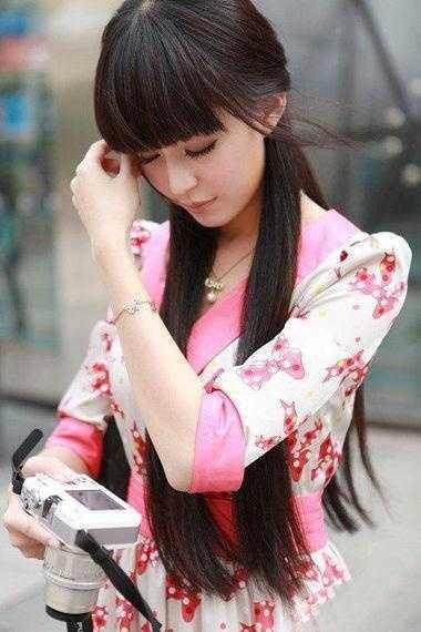 黑长直空气刘海图片 12款清纯淑女的黑长直发型