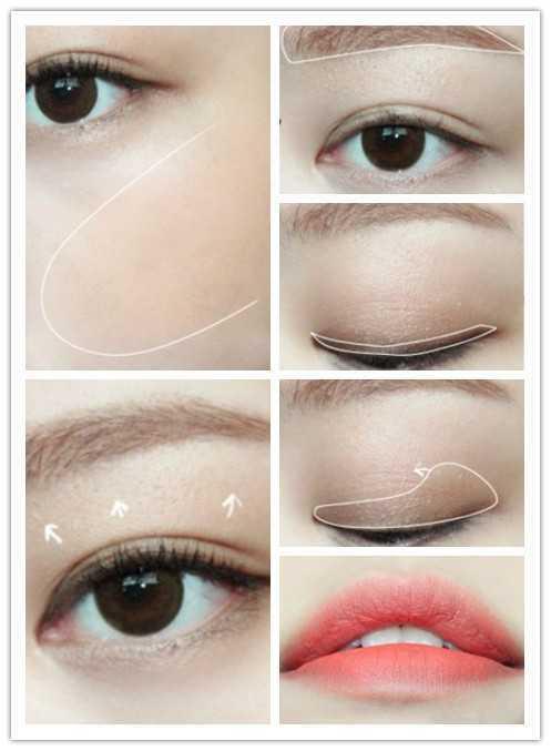 步骤2:用干净的眼刷将画好的眼影在白色线条范围内晕染.